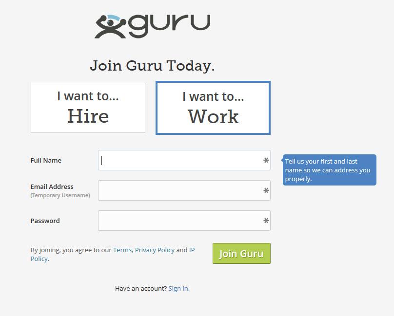 guru.com signup